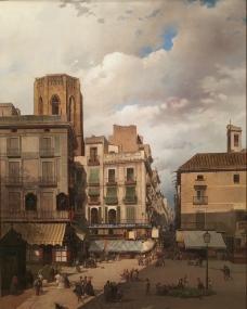 城区风景油画图片