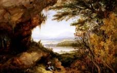 山岭风景油画图片
