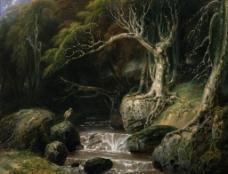 森林风景油画图片