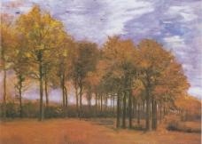 树林油画图片