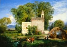 乡村风景油画图片