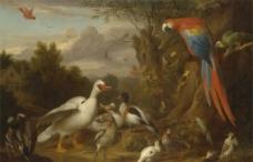 森林动物油画图片