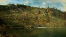 山谷风景油画图片