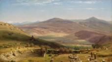 山坡风景油画图片