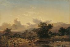 山区风景油画图片