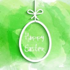 在水彩背景上挂上复活节蛋