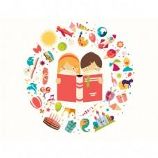 儿童阅读卡通素材背景