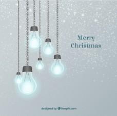 发光的灯泡,圣诞节的背景