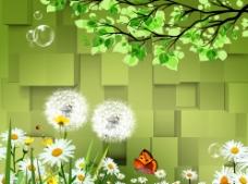 3D 树叶 花朵图片