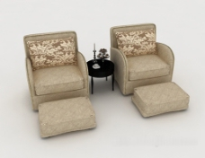 简约花纹双人沙发3d模型下载