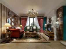 客厅 混搭风格 效果图-施工图