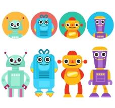 8款卡通机器人与头像素材