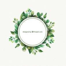 淡雅植物环形矢量素材