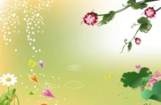 绿色背景画图片