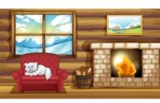 卡通冬季温暖木屋矢量素材图片