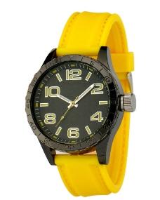 黄色黑面胶带手表图片