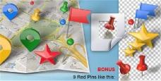 真实三维地图路线标记旗帜模板