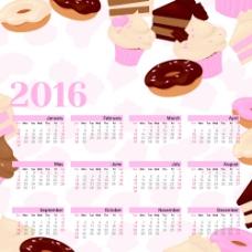 甜品店日历模版图片