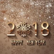 2018年新年设计与雪背矢量海报