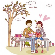 卡通互送礼物的情侣图片