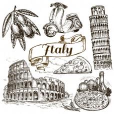 意大利建筑和美食