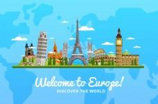 浅蓝色欧洲旅游旅行矢量素材