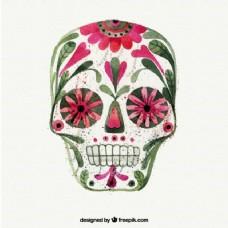 水彩花卉的头骨