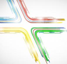 炫彩十字路口曲线设计矢量素材