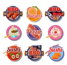 圆形美味食物标签矢量图图片
