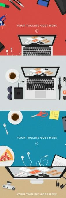 扁平化办公用品图片