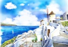 晴空万里夏日海滩城堡手绘插画图片