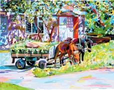 马车风景油画