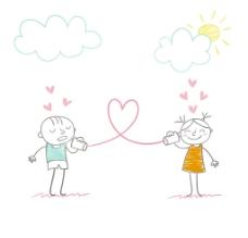 卡通情侣心形素材图片