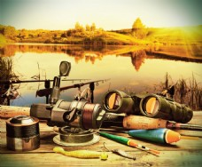 钓鱼竿背景图