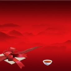 大气中国风红色喜庆茶叶直通车钻展背景