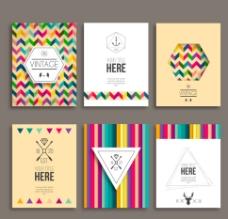 6款时尚花纹卡片矢量图