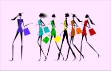 时尚服饰女模特线稿淘宝矢量图