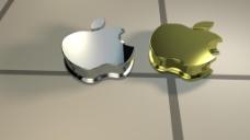金属质感土豪金高端银苹果logo