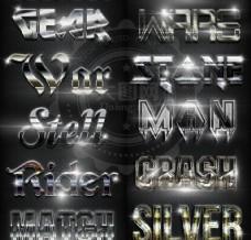 12款银色质感的金属艺术字PS样式