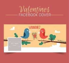 情侣鸟脸书封面图片矢量图