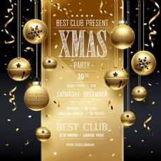 金色的五彩纸屑装饰和圣诞卡片矢量海报