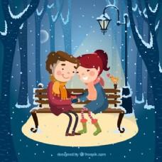 雪下的夫妇