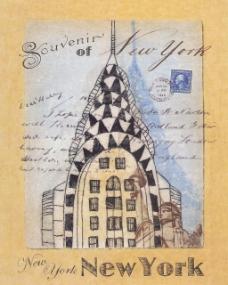 纽约风景明信片手绘图