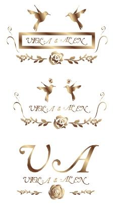 欧式甜美玫瑰婚礼logo