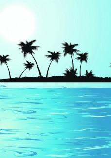 海岛椰树背景装饰
