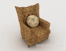 田园花纹单人沙发3d模型下载