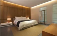 现代时尚金色背景墙卧室室内装修效果图