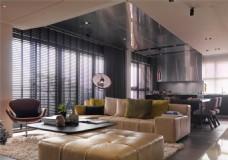 简约客厅灰色沙发装修效果图