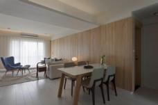 简约餐厅木质墙壁装修效果图