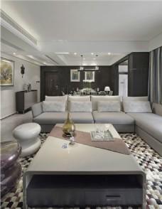 简约客厅灰色沙发装修室内效果图